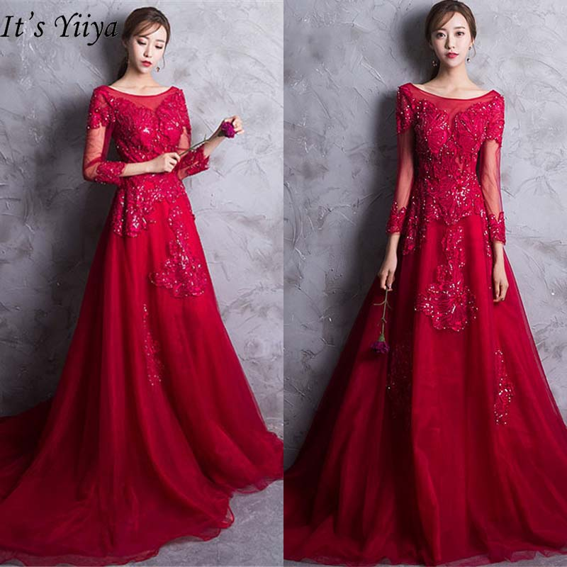 It's YiiYa Evening Dress 2019 Elegant Embroidery Three Quarter Sleeve Party Dress Train Lace Up Robe De Soiree Plus Size E506