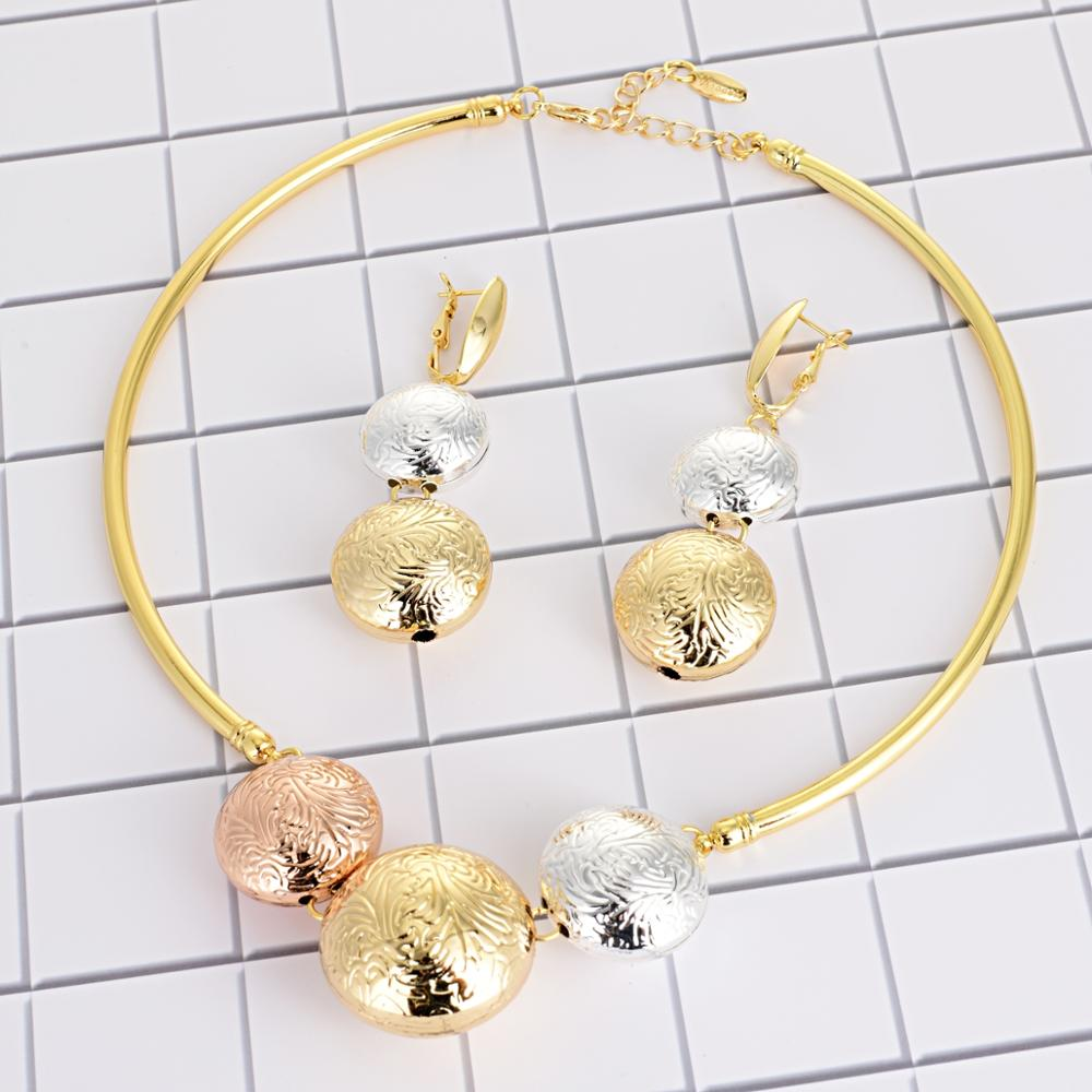 Viennois Fashion Gold Color Dangle Earrings Pendent Choker Necklace Jewelry Set For Women Metal Party Jewelry Set-in Jewelry Sets from Jewelry & Accessories