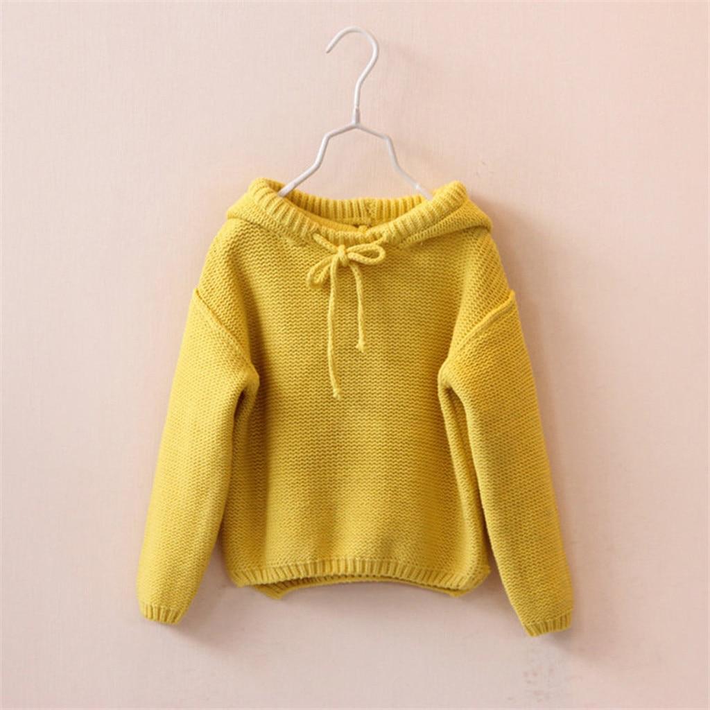 Toddler Kids Baby Girls Winter Solid Hooded Sweater Knit Crochet Tops Jumper
