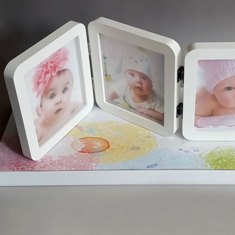 Baby Photo Frame Album 3 Folds Newborn Hand And Foot Prints Photos Frames Infants Birth Growth Commemorative Bath Gifts AXYA