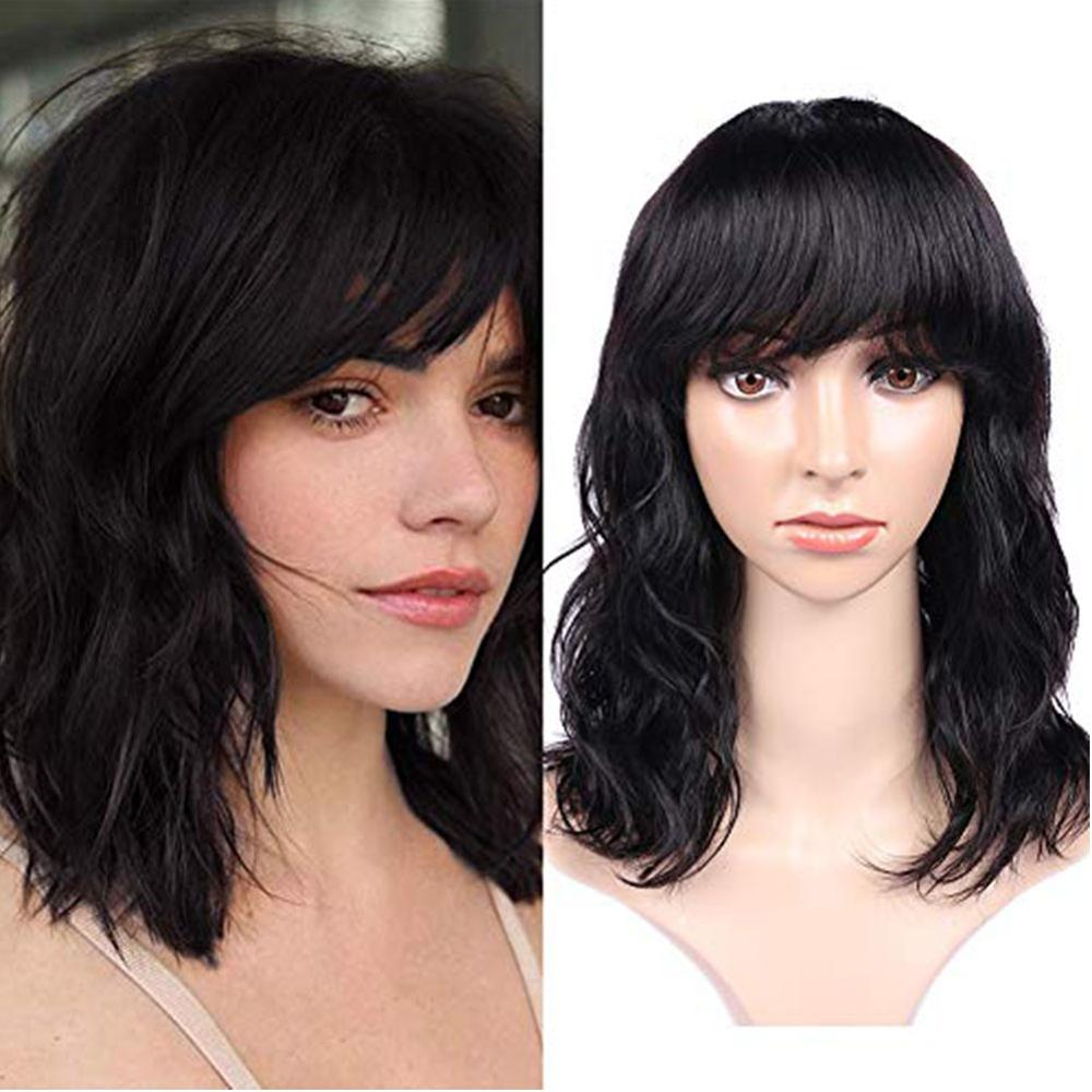 Wignee Natural Wave Human Hair Wigs With Free Bangs For Black Women 2020 New 150% High Density Remy Brazilian Cheap Human Wigs