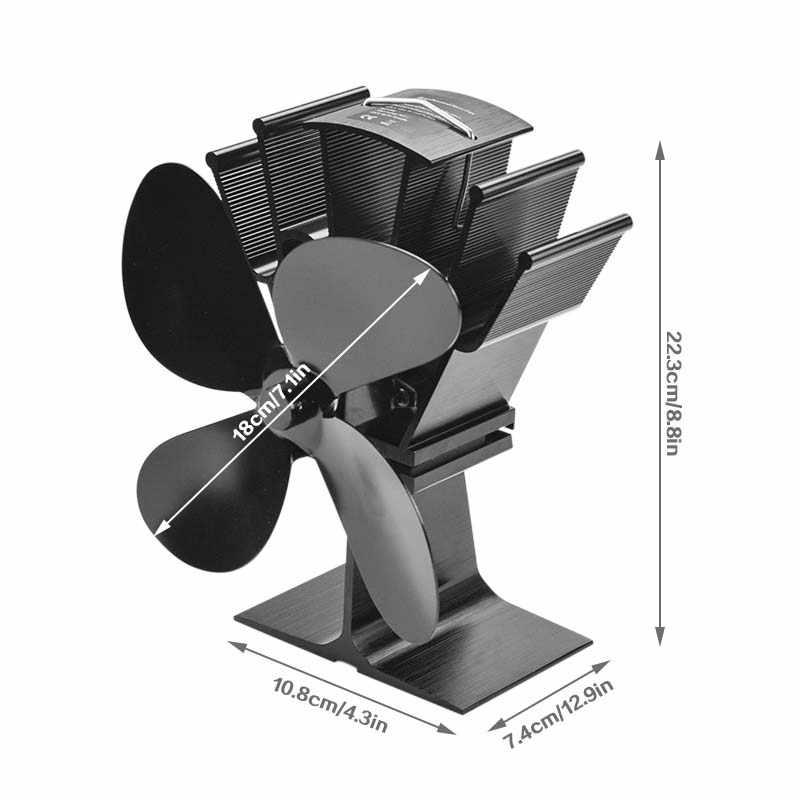 שחור אח 4 להב חום מופעל תנור מאוורר komin יומן עץ צורב אקו ידידותי שקט מאוורר בית יעיל חום הפצה