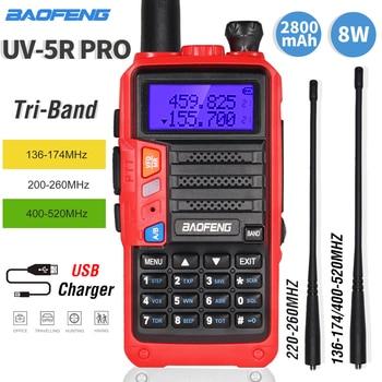 Tri-Band Two-way Radio BaoFeng UV5R Pro Walkie Talkie 8W Potente 220-260MHz HF ricetrasmettitore FM UV 5R Aggiornamento Ham Radio Portatile