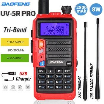 Tri-Band Two-way Radio BaoFeng UV5R Pro Walkie Talkie 8W Powerful 220-260MHz HF FM Transceiver UV 5R Upgrade Portable Ham Radio