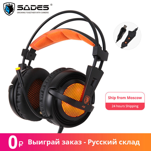 $ US $23.50 Sades A6 Gaming Headset Gamer Headphones 7.1 Surround Sound Stereo Earphones USB Microphone Breathing LED Light PC Gamer