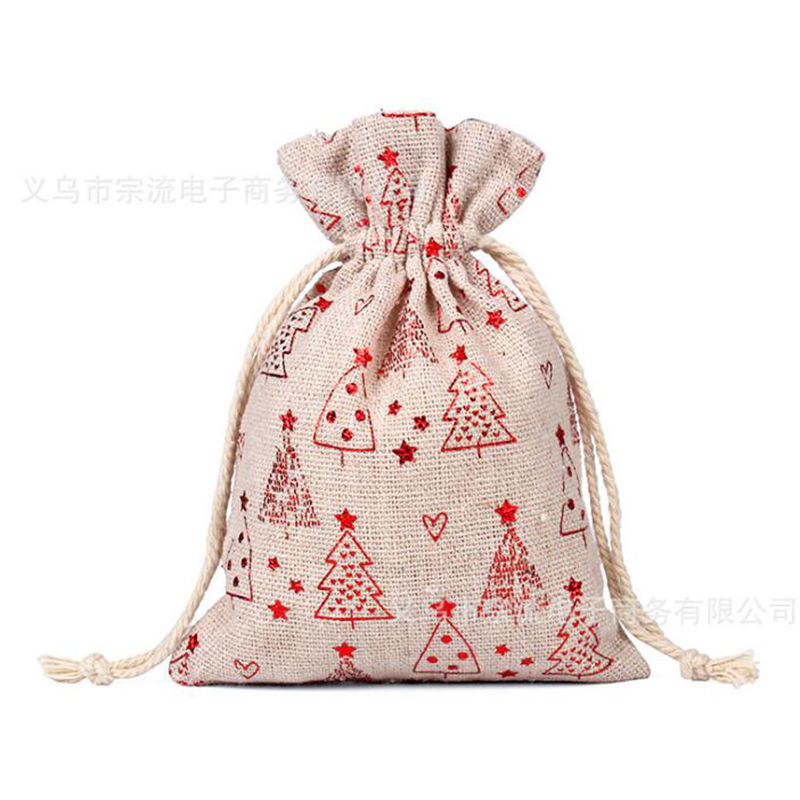 Drawstring Bag Red Christmas Tree Bunches Fashion Women Printing Travel Small Men Casual Bags Unisex Drawstring Cotton Small New