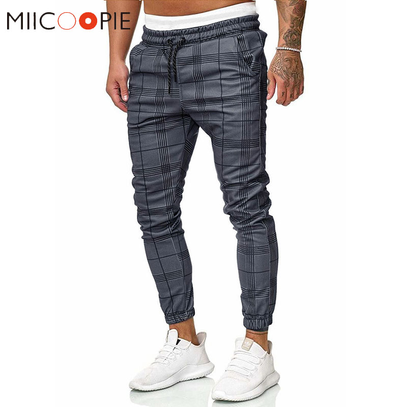 Retro Plaid Harem Pants Men Trousers New Fashion Hip Hop Workout Fitness Joggers Men Sweatpants Spring Autumn Streetwear S-XXL