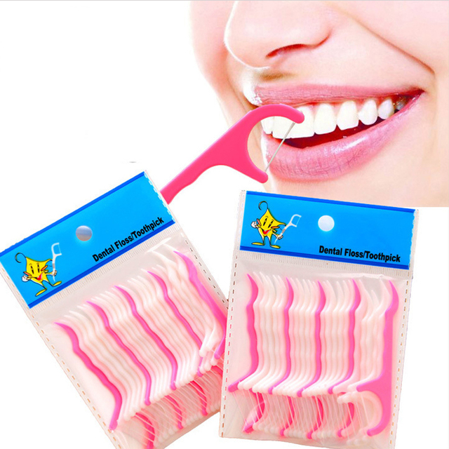 25Pcs/Lot Disposable Dental Flosser Interdental Brushes Teeth Stick Toothpicks Floss Pick Oral Gum Cleaning Floss Teeth Care