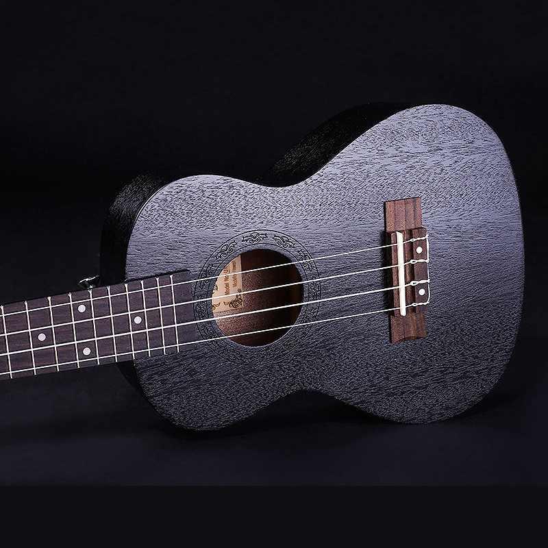 Mcool Diduo סופרן יוקולילי שחור 21 אינץ 4 האוקללה זול הוואי מיני גיטרה מהגוני עץ