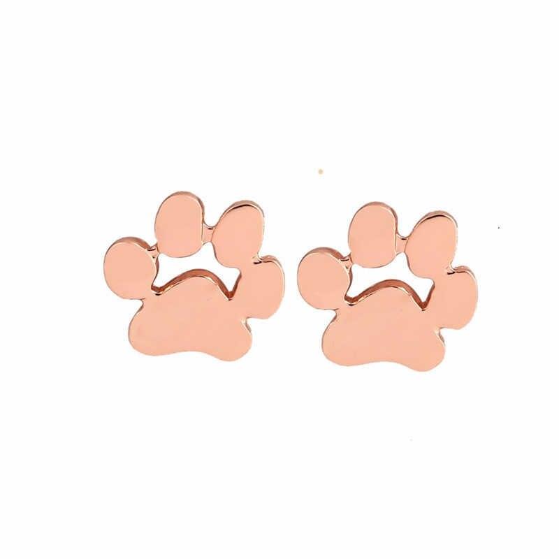 2 זוגות\סט 925 סטרלינג כסף בעלי החיים כלב חתול Paw Stud עגילים לנשים עקבות האהבה יום מתנה