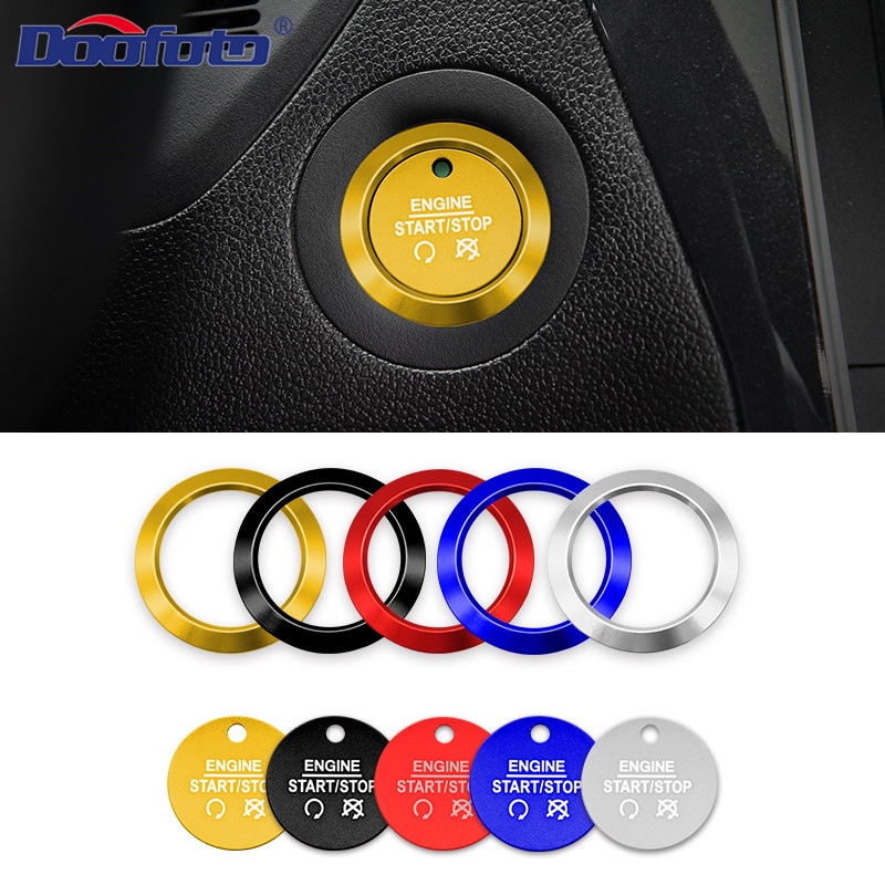 Doofoto Car Start Stop Engine Button Cover Ring For Ford-Focus MK3 Mondeo Forreus Explorer Wings Taurus Car Accessories Sticker