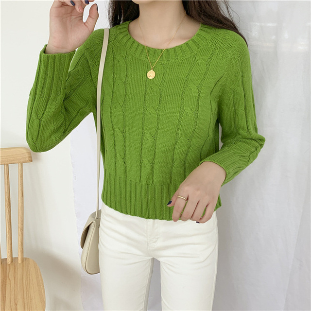 Ailegogo New 2020 Winter Women's Crop Top Sweaters Tops Fashionable Korean Style Knitting Casual Solid Pullover O-neck 4