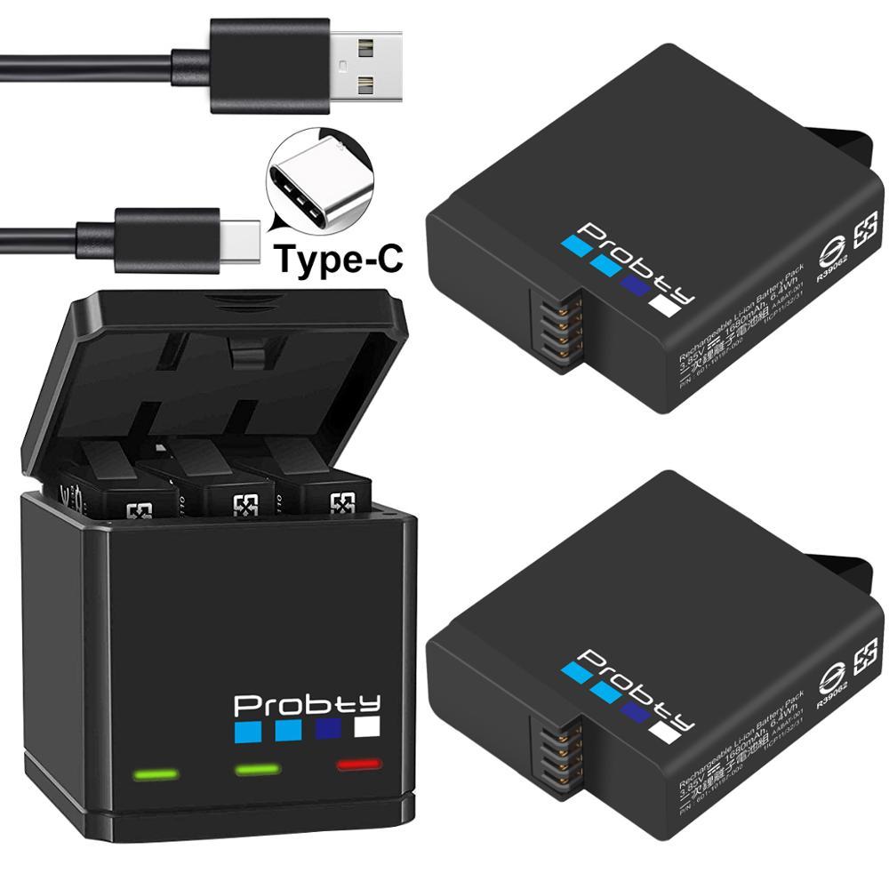 Pour GoPro Hero 7 hero 6 hero 5 Batteries noires et chargeur Triple pour GoPro Hero7 hero6 hero5 accessoires de batterie noir