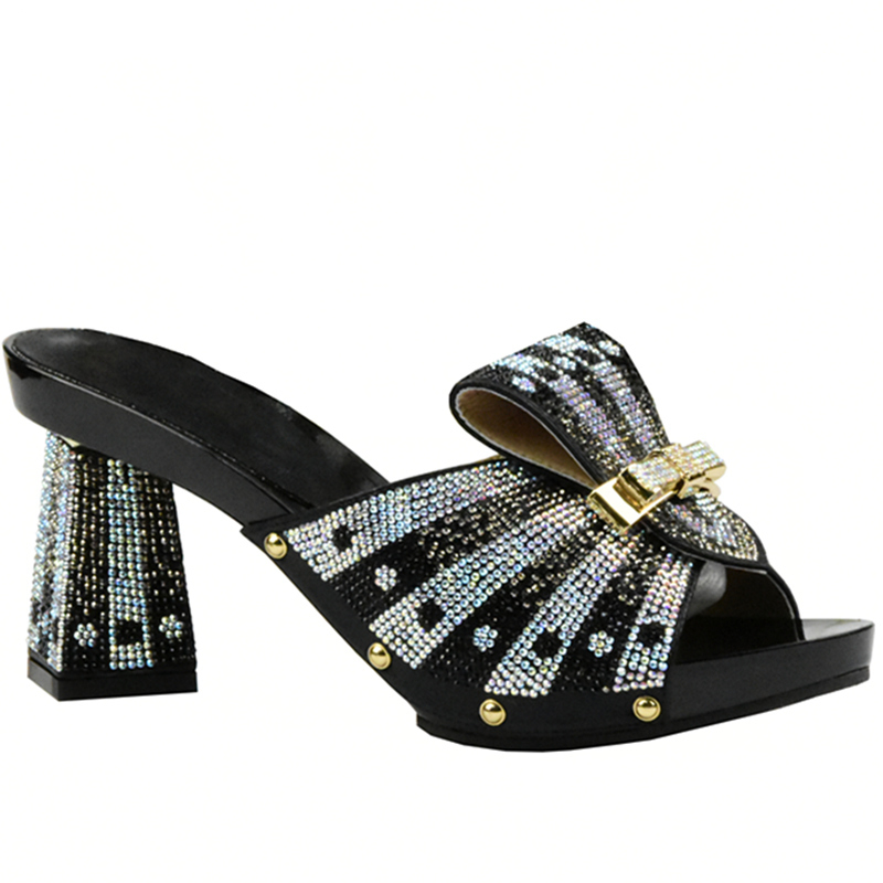 Latest Italian Shoes High Quality Summer High Heeled Shoes for Women Womens Dress Shoes Square Toe Rhinestone Wedding Shoes