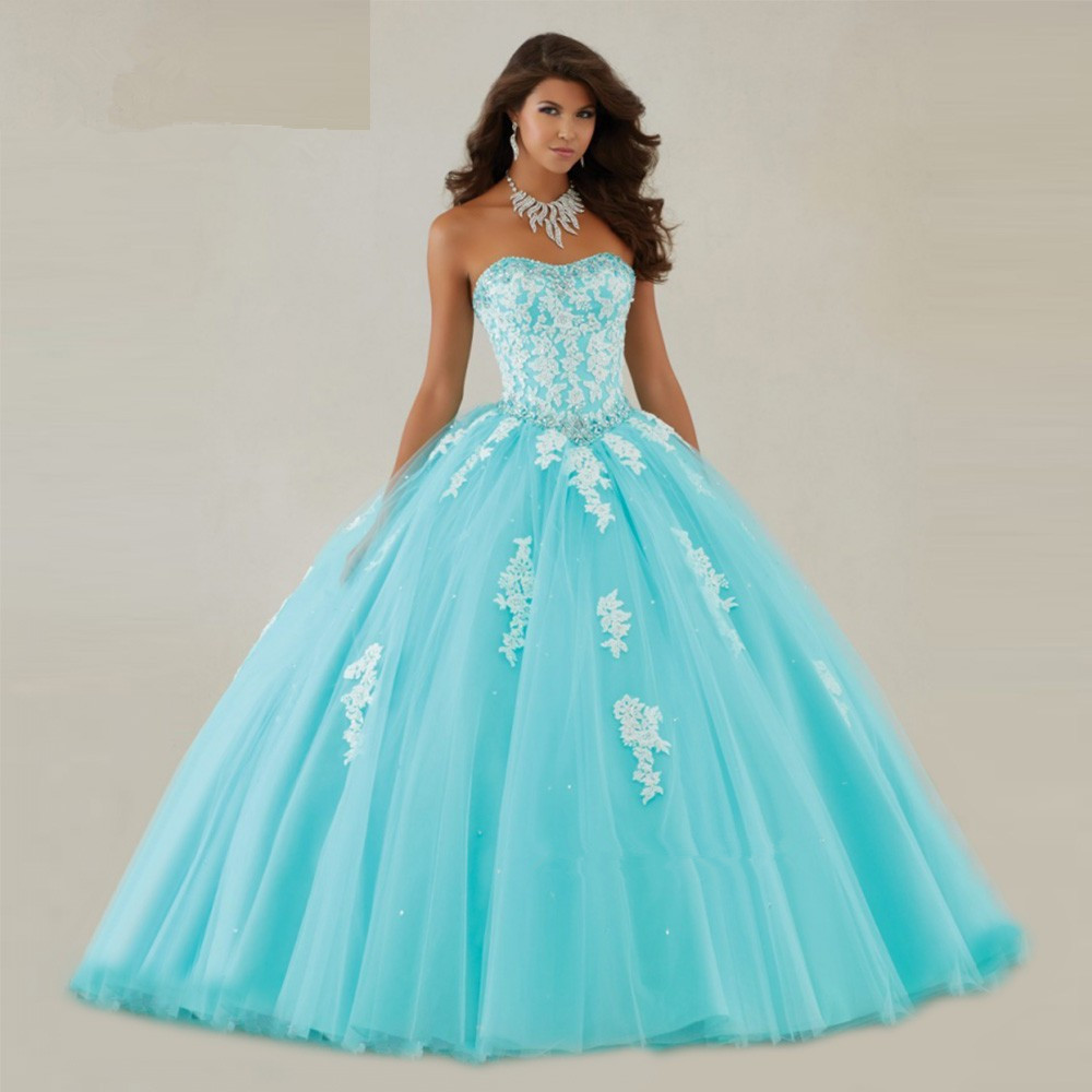 Vestido De Noiva Turquoise Cheap Quinceanera Gown White Lace 2018 Debutante Crystal Floor Length Mother Of The Bride Dresses