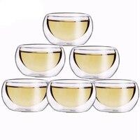 Copos de chá da flor da água do copo de chá da camada dobro resistente ao calor do copo saudável bebendo claro de 6 pces 50 ml|Cobertura bule chá| |  -