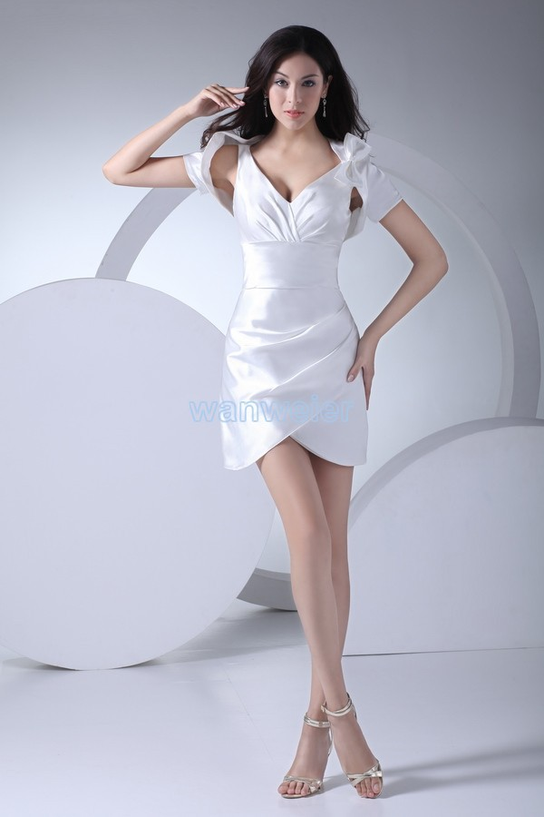 Free Shipping 2020v-neck Prom Gown New Design Hot Formal Gown White Satin Bow Sexy Short Mini Party Bridesmaid Dresses