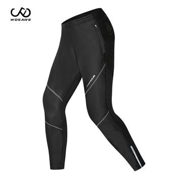 WOSAWE Winter Mens Fleece Thermal Cycling Pants Waterproof Windproof Running Tights Sportswear Racing MTB Riding Trousers