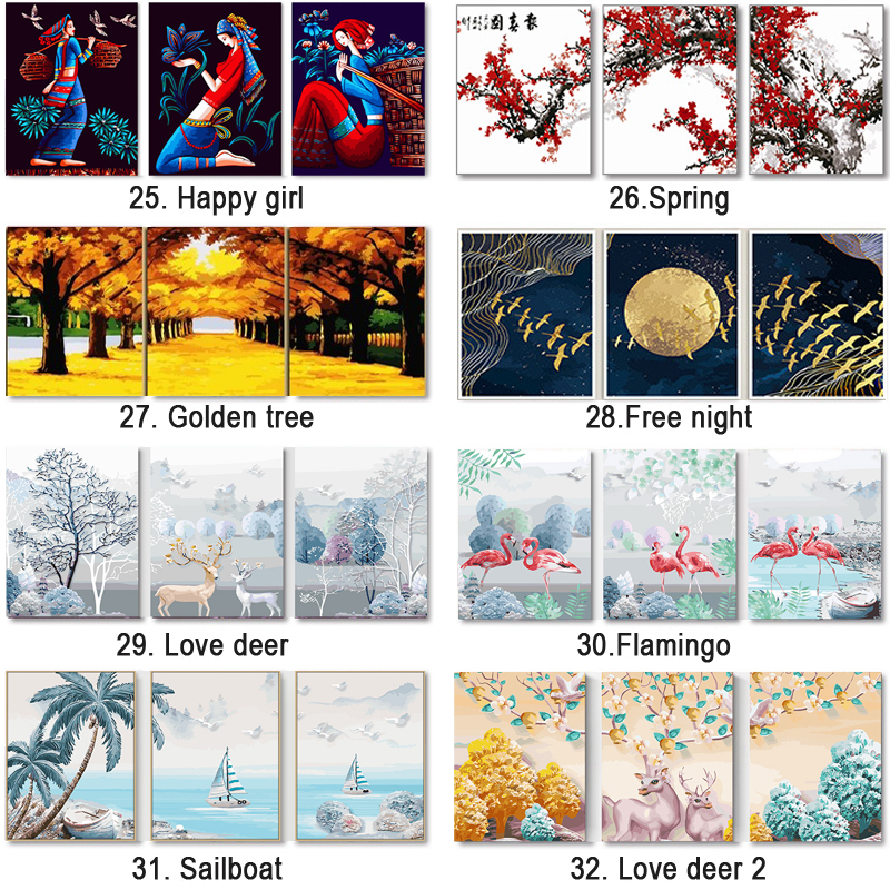 Hb5e748bd767549ce89d91b71956a5366v 3 pcs DIY Oil Painting by Numbers Flower Triptych Pictures Animal Coloring Landscape Abstract Paint Wall Sticker Home Decor Gift