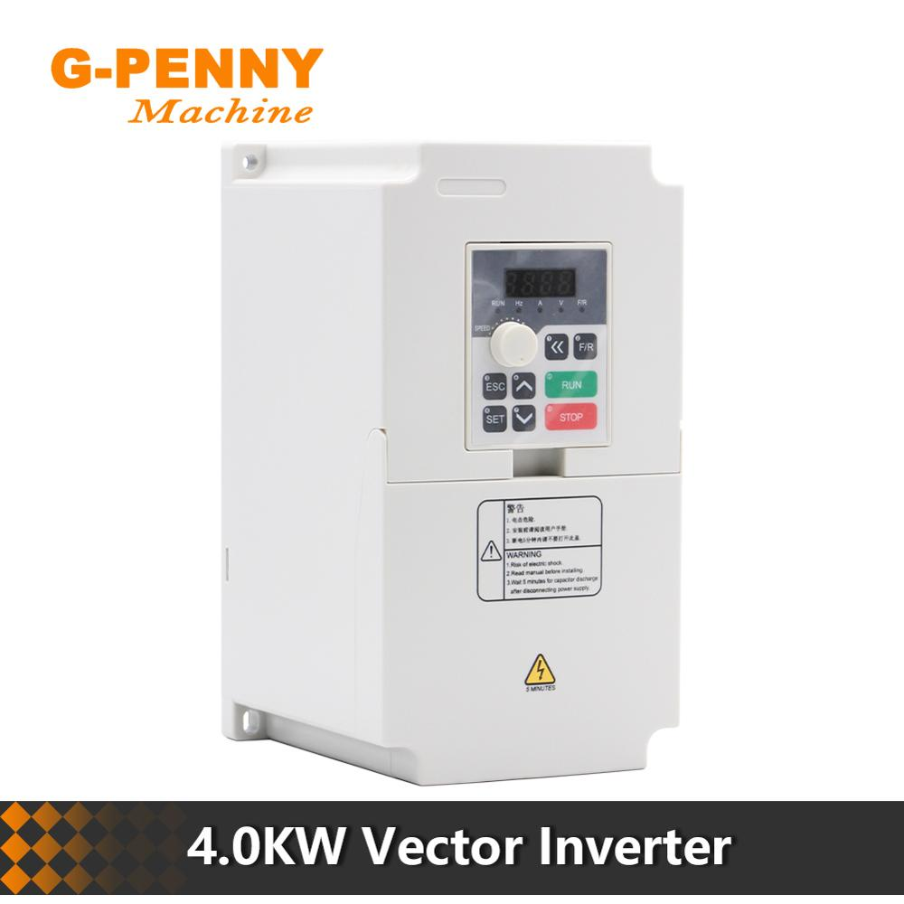 220v 380v VFD Variable Frequency Drive 4.0kw vector Inverter CNC Spindle Motor Speed Control 0-1000Hz  Frequency Converter