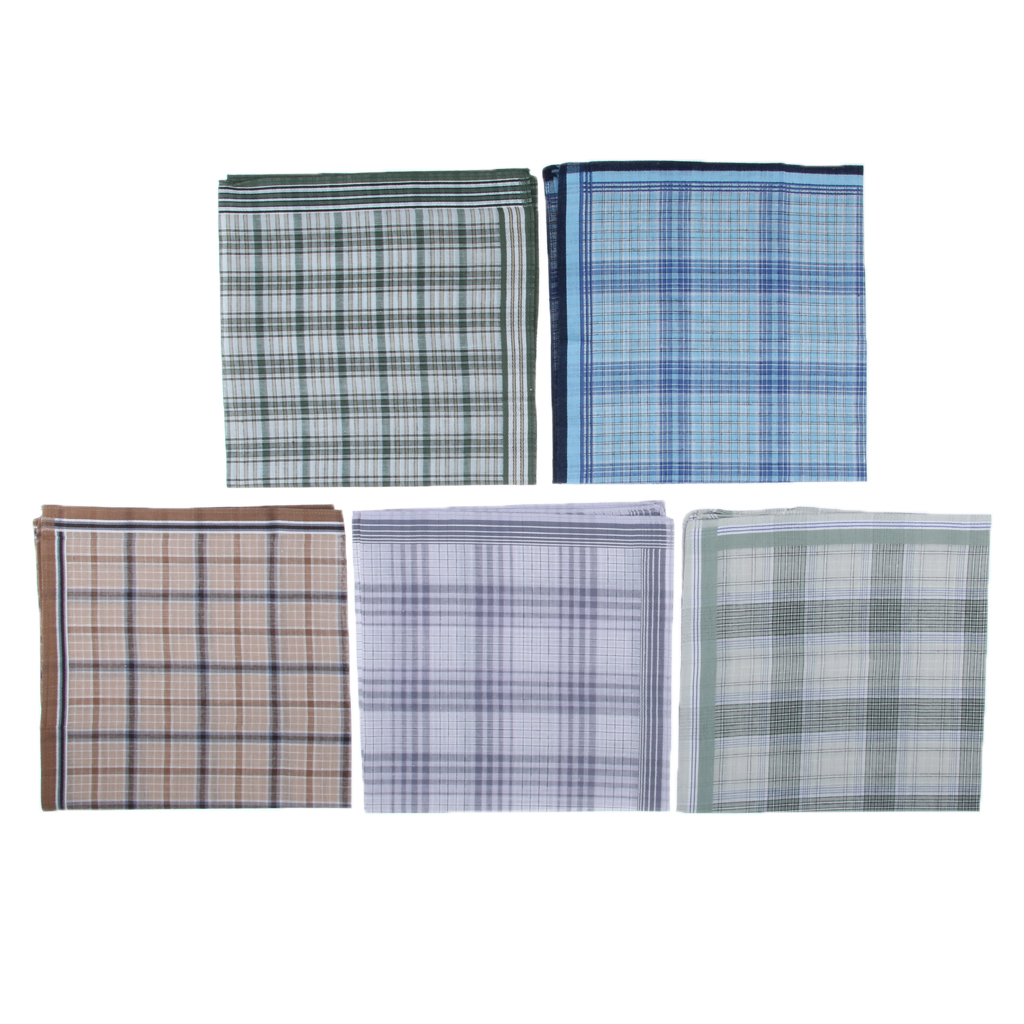 5 Pieces Men's Handkerchiefs 100 % Cotton Premium Pocket Square Hankies Gift 43 X 43 Cm