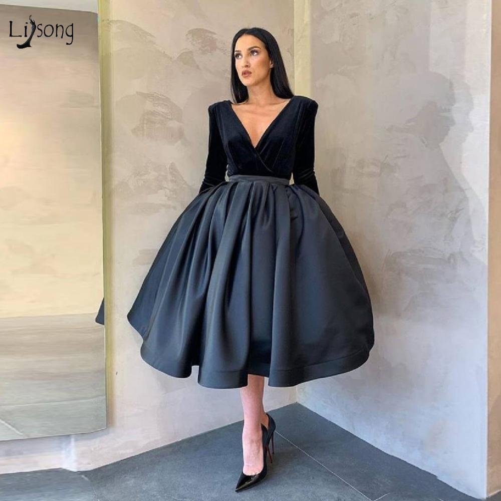 Elegant Black Puffy A-line Formal Party Dresses Velvet Full Sleeves Teal Length Prom Gowns Fashion Cocktail Dresses