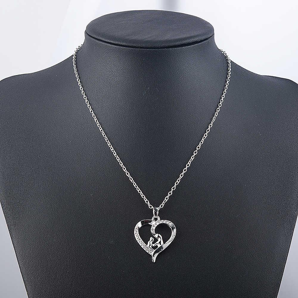 """Belleza amor """"mamá"""" Cristal colgante de corazón de rinoceronte regalos del Día de la madre collares de cadena de mamá e hijo"""