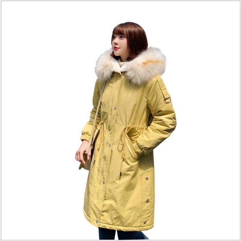 Winter Coat Women Large Fur Collar Hooded Long Jacket Thicken Warm Korean Padded women   Parkas   Jaqueta Feminina 262