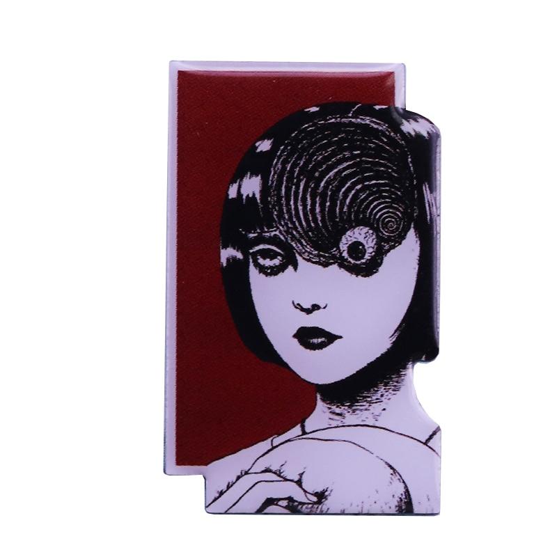 Uzumaki Junji Ito Japanese horror manga enamel pin creepy flair addition(China)