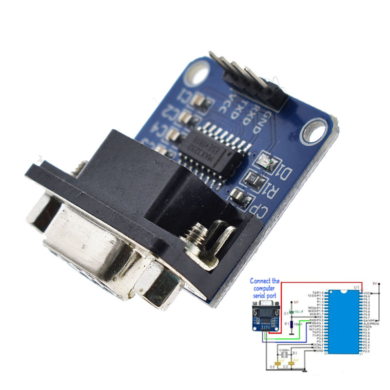 MAX3232 RS232 To TTL Serial Port Converter Module DB9 Connector MAX232 For Arduino