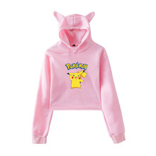 Autumn Lovely Hooded Pullovers Pokemon Spring Kawaii Long Sleeve Short Hoodies Teenager Girls Funny Harajuku Sweatshirts Tops(China)