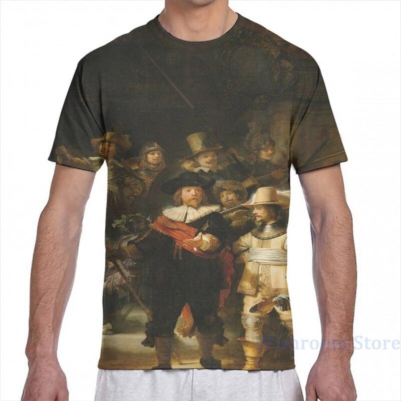 A rembrandt rembrandt renasart arte de 1642 homens camiseta feminina por todo o lado impressão moda menina t camisa menino topos t camisas de manga curta