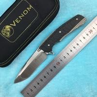 KEVIN JOHN KNIFE VENOM 2 Flipper folding knife M390 blade titanium alloy + carbon fiber handle outdoor camping hunting fruit kni
