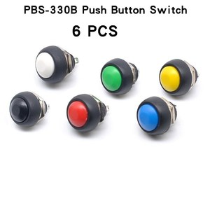 6Pcs PBS-33b 2Pin Mini Switch 12mm 12V 1A Waterproof momentary Push button Switch since the reset Non-locking
