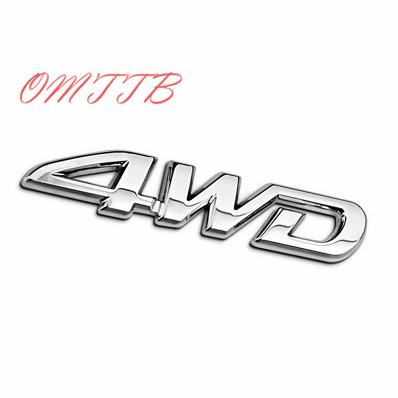 3D Metal Chrome 4WD Emblem Badge Decal Car Sticker SUV Rear Trunk Off-road For Toyota Highlander RAV4 Tiguan Honda Car Styling