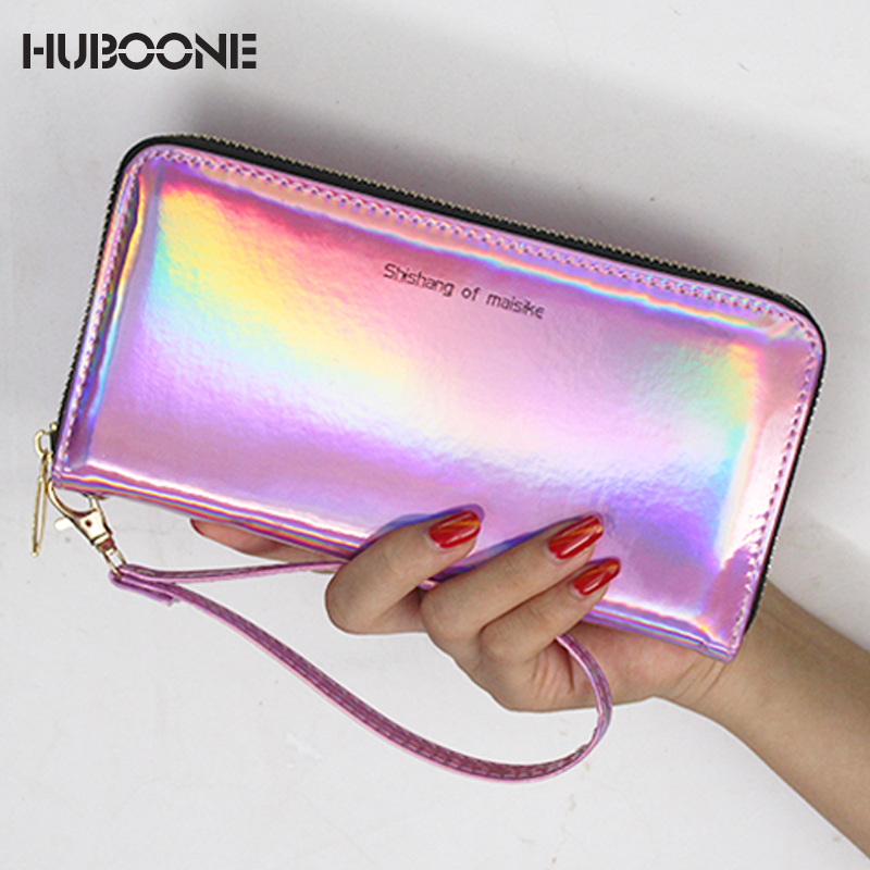 HUBOONE Laser Wallet Women Purse Card Holder Female Long Clutch 2019 New Women Holographic Wallets Portfel Phone Pocket Carteira