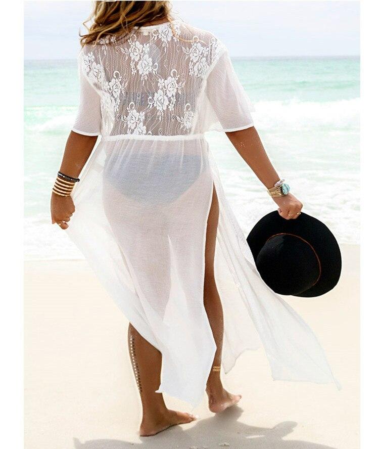 Europe And America Chiffon Lace Joint Beach Skirt Slit Lace-up Cardigan Long Skirts Bikini Bathing Suit Outer Blouse Coat