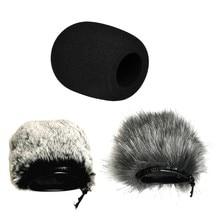 Artificial pele pára-brisas capa microfone windproof windshield filtro de espuma para áudio-technica atr2500 at2020 at203 alta qualidade