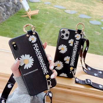 Korea chrysanthemum X peaceminusone Wrist support lanyard soft silicon phone case for iphone 7 8 plus X XS XR MAX 11 Pro cover 1