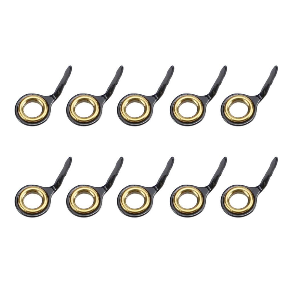 10 шт., направляющие для удочек из нержавеющей стали, кольцевой наконечник для удочки, Ремонтный комплект 3#4#5#6#7#8#10# комплект рыболовных принадлежностей - Цвет: Gold 8