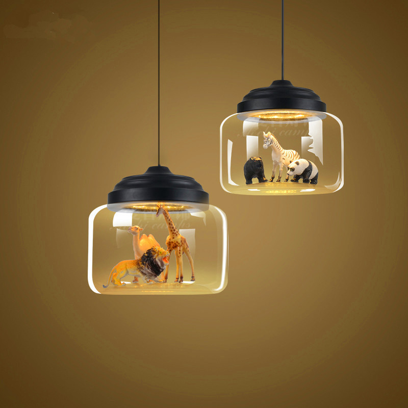 Model Of The Nordic Restaurant Cafe Glass Lamp Droplight Kindergarten Classroom Study Personality Cartoon Animals