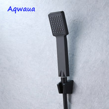 Aqwaua-Cabezal de ducha de mano negro, rociador para ahorro de agua de plástico ABS, Función única de ducha de mano para accesorios de baño