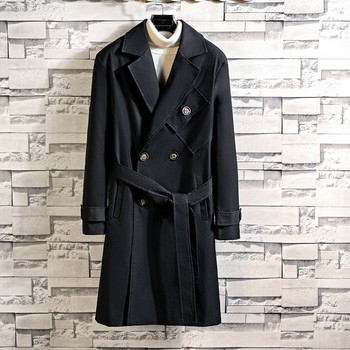 Men's Autumn Winter Casual Coat Long Sleeved Large Size Lengthened Jacket Trench Coat Loose large size Windbreak Outwear 10.10