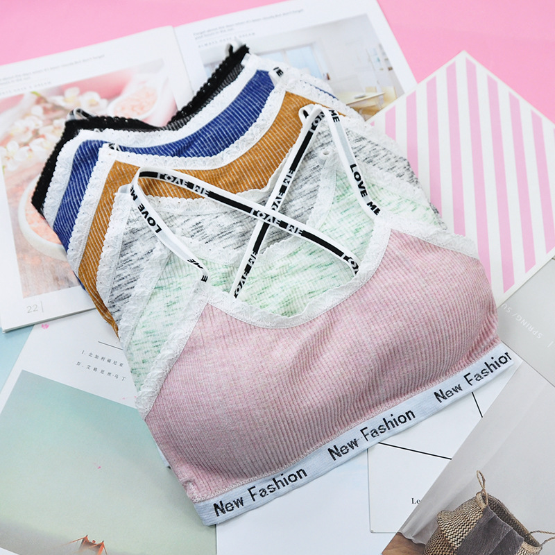 Women Young girls Student Letters Printed Spaghetti Straps Bra Removable Padded Seamless Bralette Teenage Girl