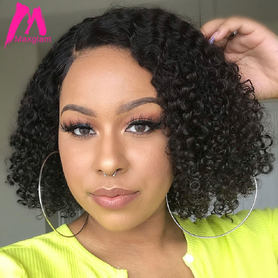 Lace Front Human Hair Wigs Afro Kinky Curly Brazilian Remy Hair 13x6 Bob Wig Short Long Natural PrePlucked For Black Women
