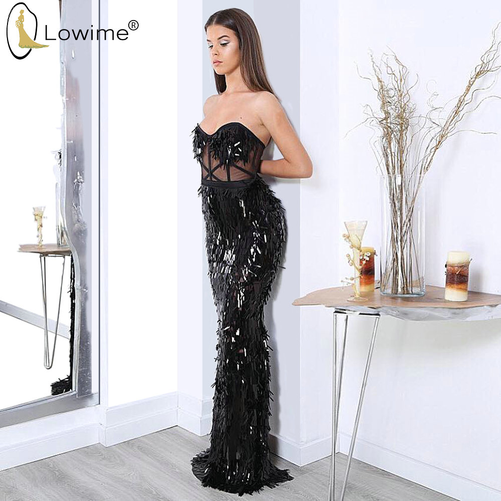 2020 Illusion Black Sequined Mermaid Evening Dresses Sweetheart Neck Robes Prom Party Gowns Vestido De Festa Couture