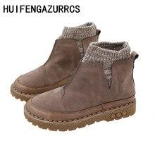 HUIFENGAZURRCS-Botas originales hechas a mano para mujer, botas Vintage Martin de costura, botas informales de lana para la universidad cómodas