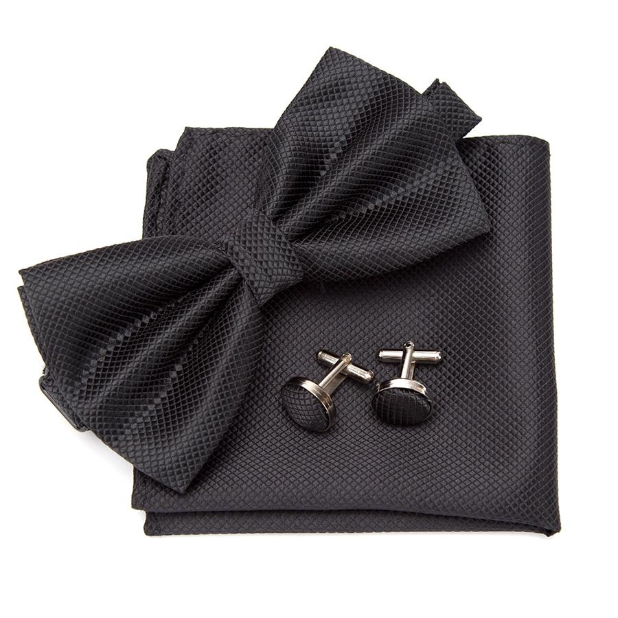 Men Bowtie Cravat Cufflinks 3Pcs Set Fashion Butterfly Party Wedding Bow Ties For Mens Candy Color Bowknot Handkerchief