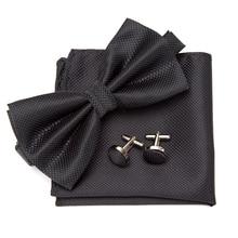 Men Bowtie Cravat Cufflinks 3Pcs Set Fashion Butterfly Party Wedding Bow