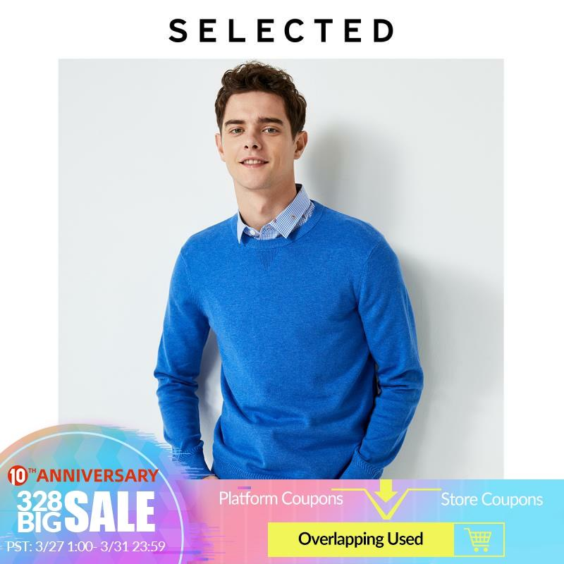 SELECTED Men's Autumn 100% Cotton Sweater Clothes Round Neckline Long-sleeved Pullover Knit S | 419324518